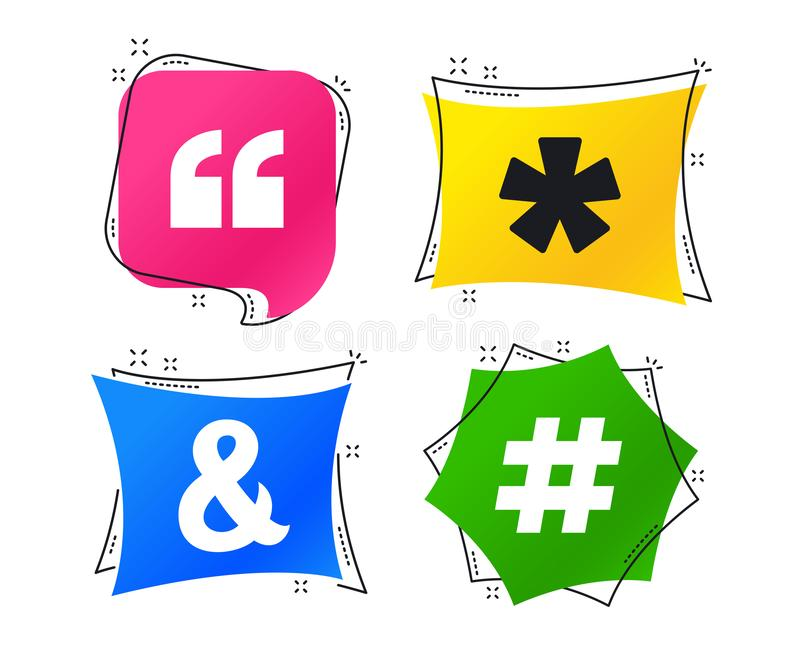 2_equals_1_icon. Quote, asterisk footnote icons. Hashtag social media and ampersand symbols. Programming logical operator AND sign. Geometric colorful tags stock illustration