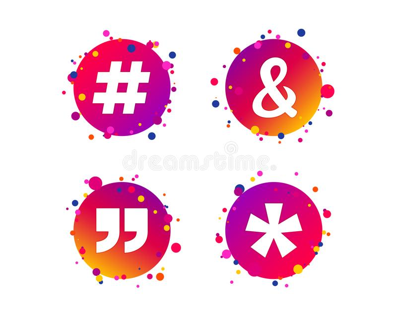 2_equals_1_icon. Quote, asterisk footnote icons. Hashtag social media and ampersand symbols. Programming logical operator AND sign. Gradient circle buttons with vector illustration
