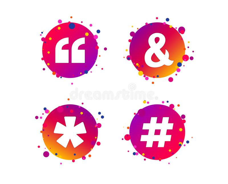 2_equals_1_icon. Quote, asterisk footnote icons. Hashtag social media and ampersand symbols. Programming logical operator AND sign. Gradient circle buttons with royalty free illustration