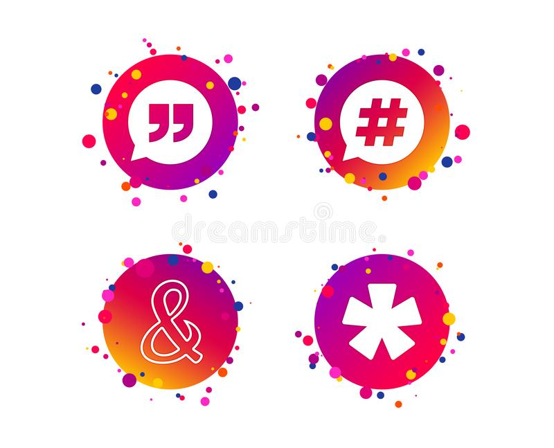 2_equals_1_icon. Quote, asterisk footnote icons. Hashtag social media and ampersand symbols. Programming logical operator AND sign. Speech bubble. Gradient vector illustration