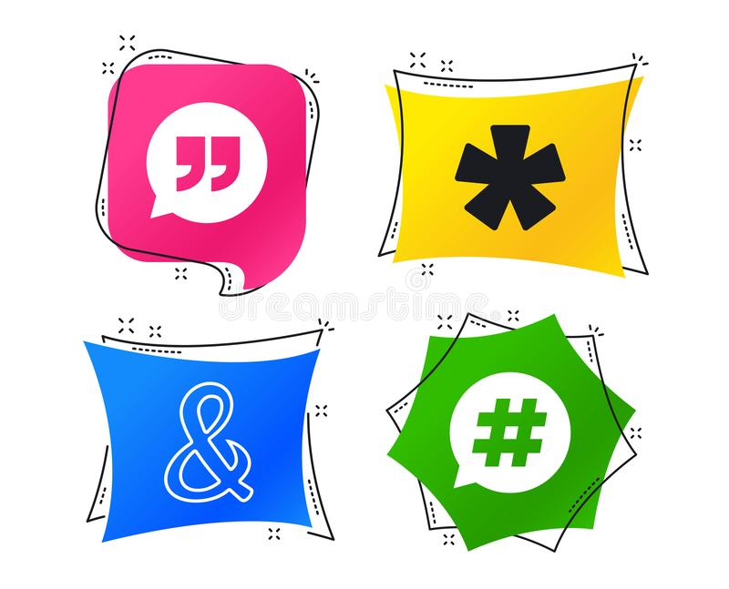 2_equals_1_icon. Quote, asterisk footnote icons. Hashtag social media and ampersand symbols. Programming logical operator AND sign. Speech bubble. Geometric vector illustration