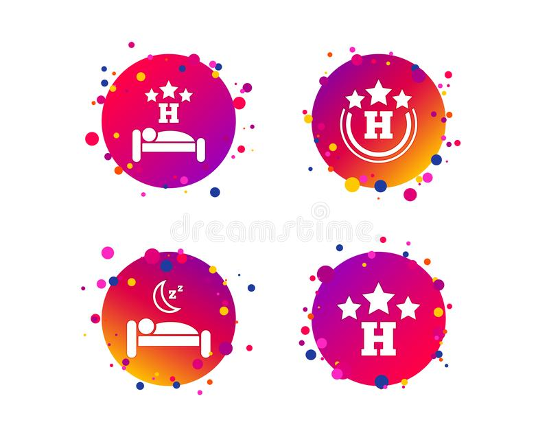 2_equals_1_icon. Three stars hotel icons. Travel rest place symbols. Human sleep in bed sign. Gradient circle buttons with icons. Random dots design. Vector royalty free illustration