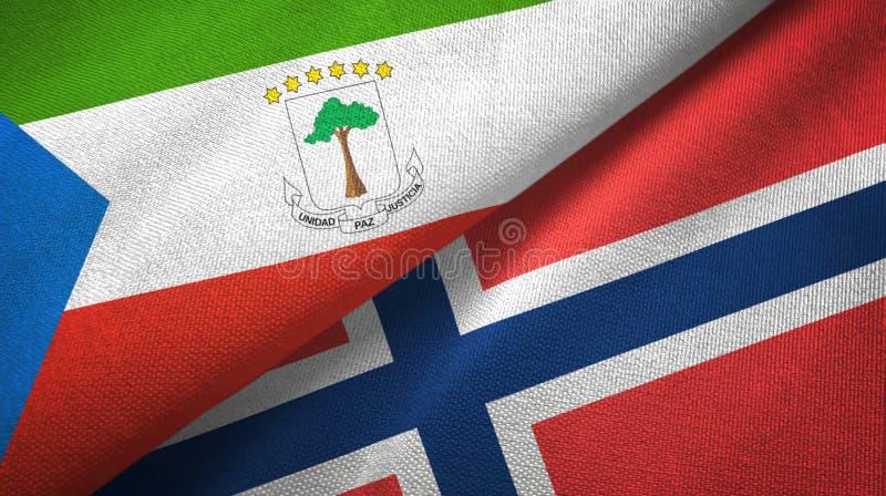 Equatoriaal-Guinea en Noorwegen twee vlaggen textieldoek, stoffentextuur vector illustratie