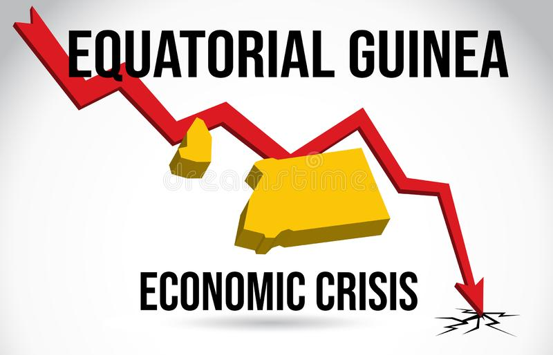 Equatorial Guinea Map Financial Crisis Economic Collapse Market Crash Global Meltdown Vector. Illustration stock illustration