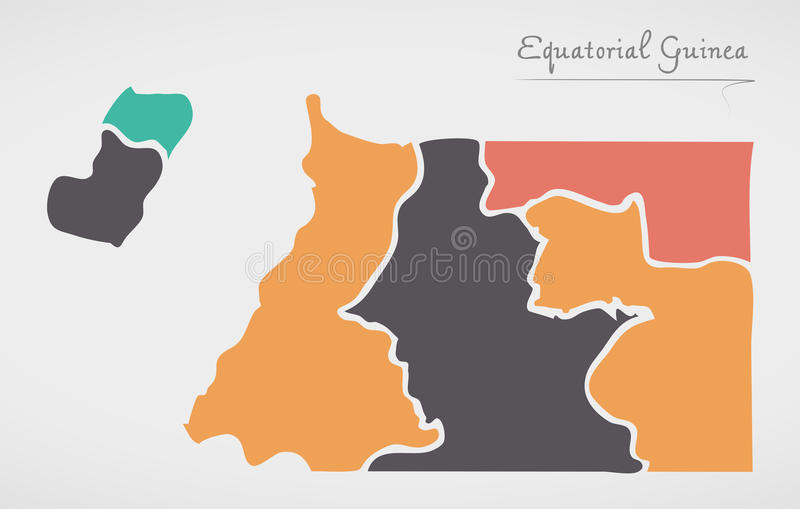Equatorial Guinea Map with states and modern round shapes. Illustration stock illustration