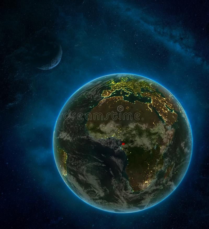 Equatorial Guinea from space on Earth at night surrounded by space with Moon and Milky Way. Detailed planet with city lights and. Clouds. 3D illustration royalty free illustration