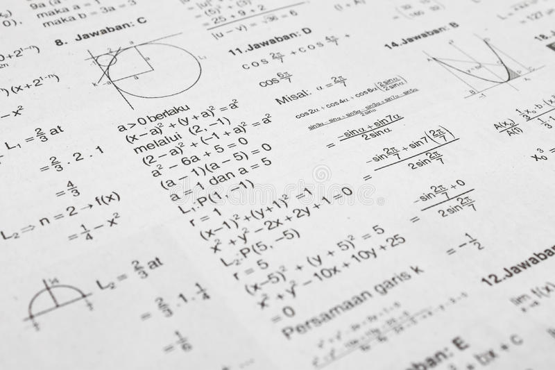 Equazioni di per la matematica immagine stock