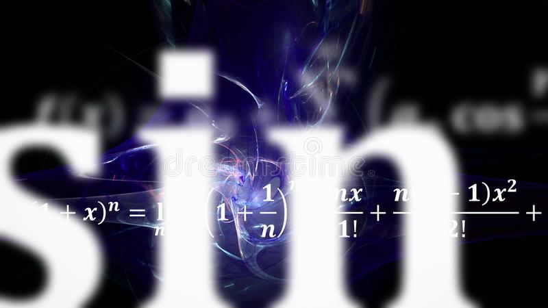 Equazioni di per la matematica che volano e che scompaiono nella distanza fotografia stock