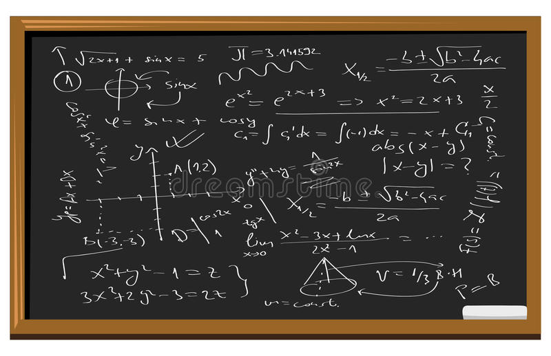 Equazioni Di Per La Matematica Della Lavagna Illustrazione ...