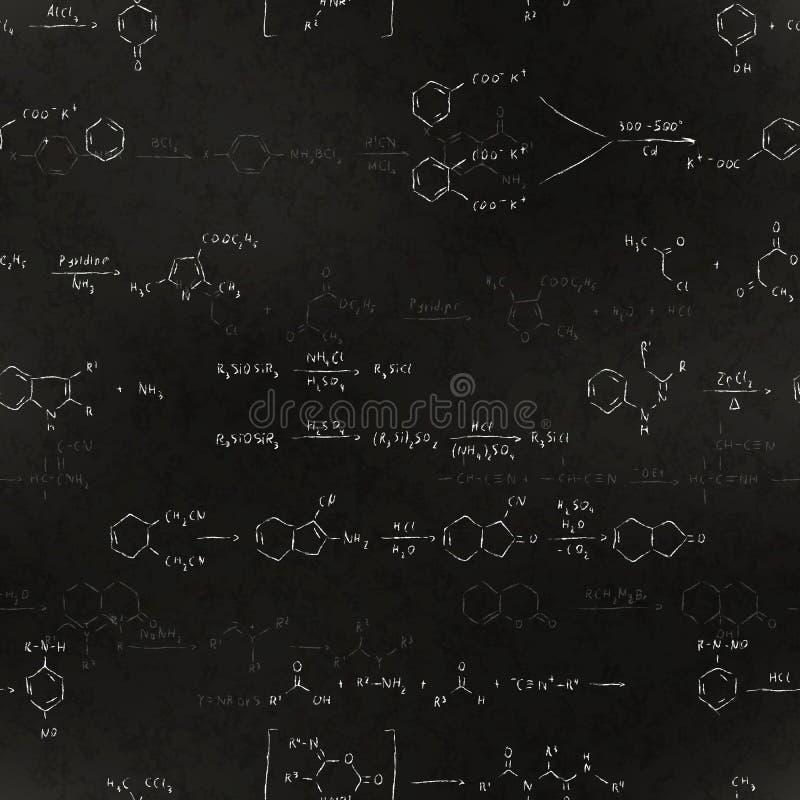 Equazioni di reazione chimica e formule di base, iscrizione del gesso sul modello senza cuciture della lavagna della scuola royalty illustrazione gratis