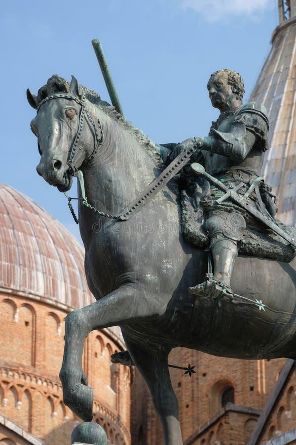 Equestrian bronze statue Gattamelata av Donatello Basilica of St Anthony of Padua in Padua, Italien royaltyfria foton