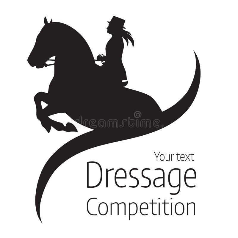 Equestrian dressage rywalizacje - wektorowa ilustracja koń ilustracja wektor