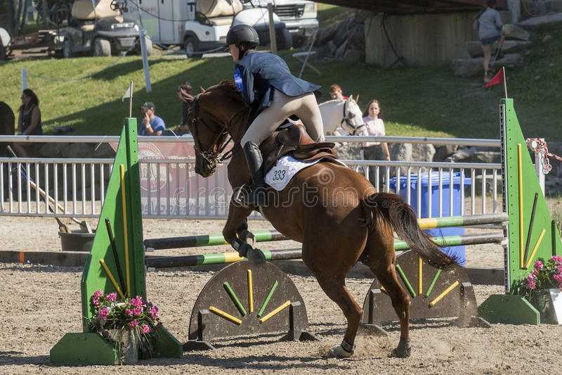Equestrian event - jumper. Rear view of rider and brown horse making a jump during competition at the bromont concours June 12, 2016 stock photos