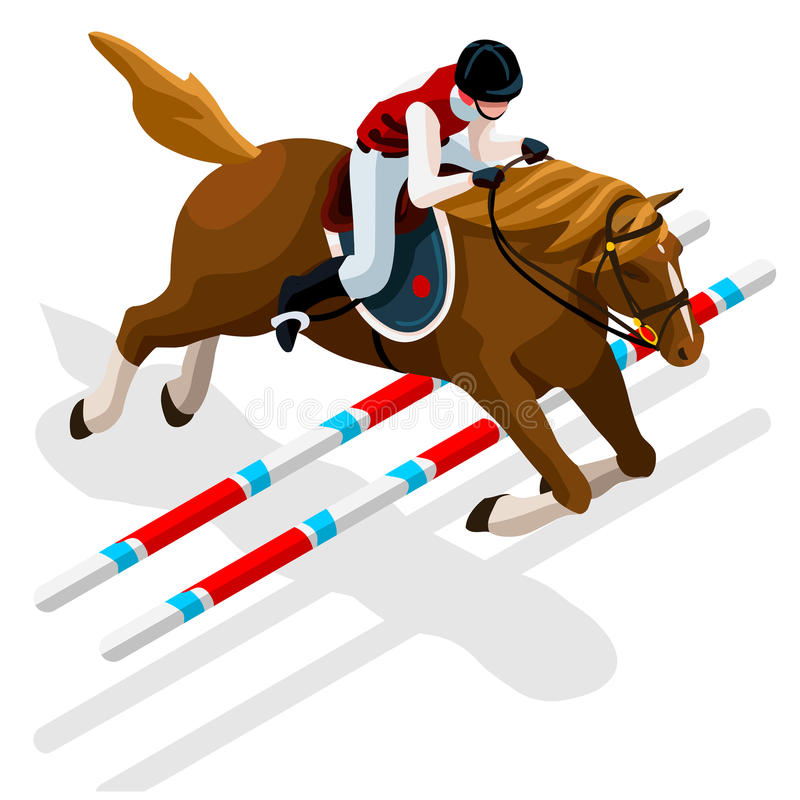 Equestrian Eventing Summer Games Icon Set. Olympics 3D Isometric Jockey and Horse Jump Sporting Competition. Sport Infographic stock illustration