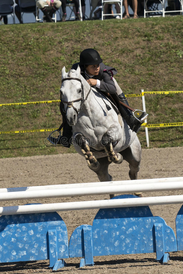 Equestrian - horse jumping. Front view of young rider and white horse making a jump during competition at the bromont concours June 12, 2016 royalty free stock photo