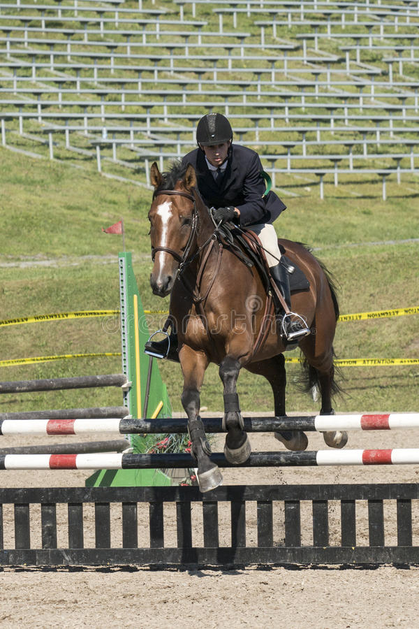 Equestrian - horse jumping. Picture of young rider and brown horse making a jump during competition at the bromont concours June 12, 2016 stock images