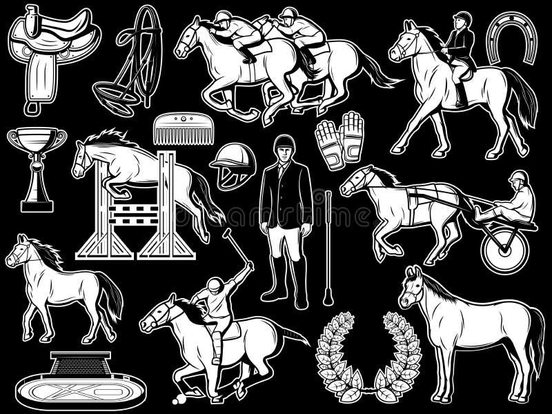 Equestrian klub, dżokeja polo końskiej jazdy rzeczy royalty ilustracja