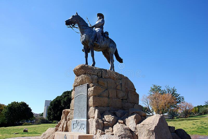 Reiterdenkmal , Equestrian Memorial in Windhoek,. Equestrian Memorial or German Rider  of Southwest , Reiterdenkmal , in  Windhoek, Namibia, South West Africa stock image