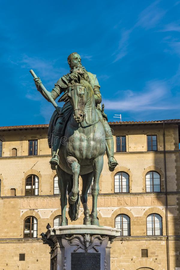 Equestrian Monument of Cosimo I in Florence. Italy royalty free stock photography