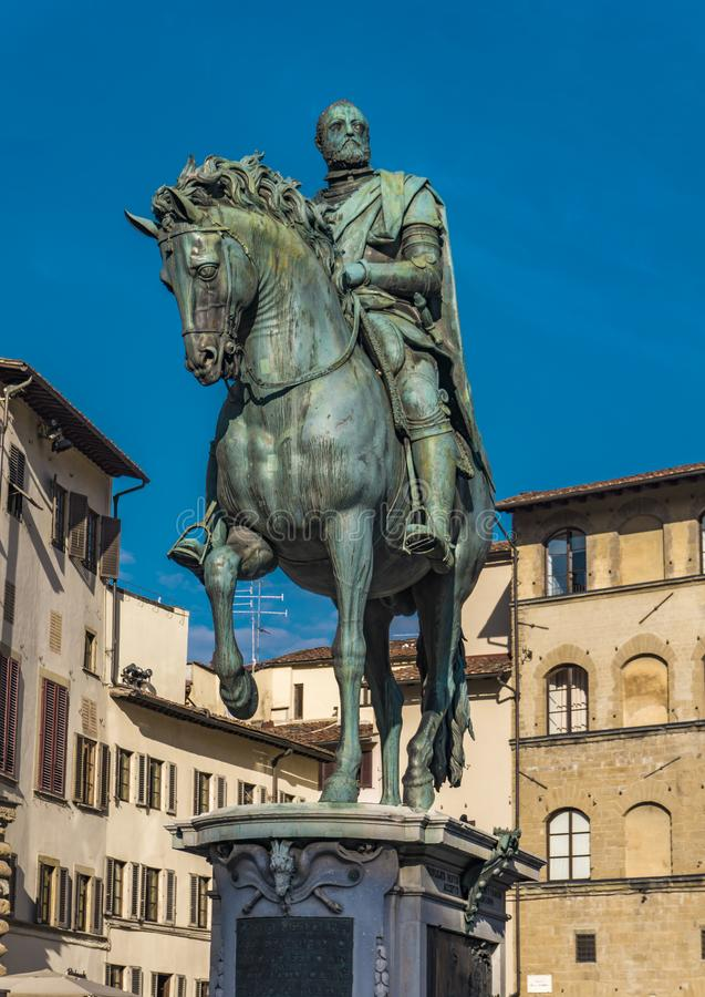Equestrian Monument of Cosimo I in Florence. Italy stock photo