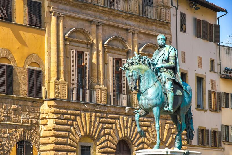 Equestrian Monument of Cosimo I in Florence. View on the Equestrian Monument of Cosimo I in Florence in Florence, Italy on a sunny day royalty free stock image