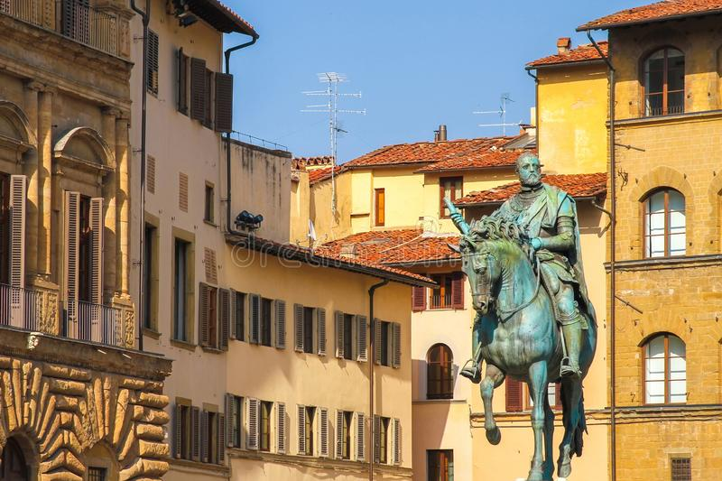 Equestrian Monument of Cosimo I in Florence. View on the Equestrian Monument of Cosimo I in Florence in Florence, Italy on a sunny day royalty free stock photography