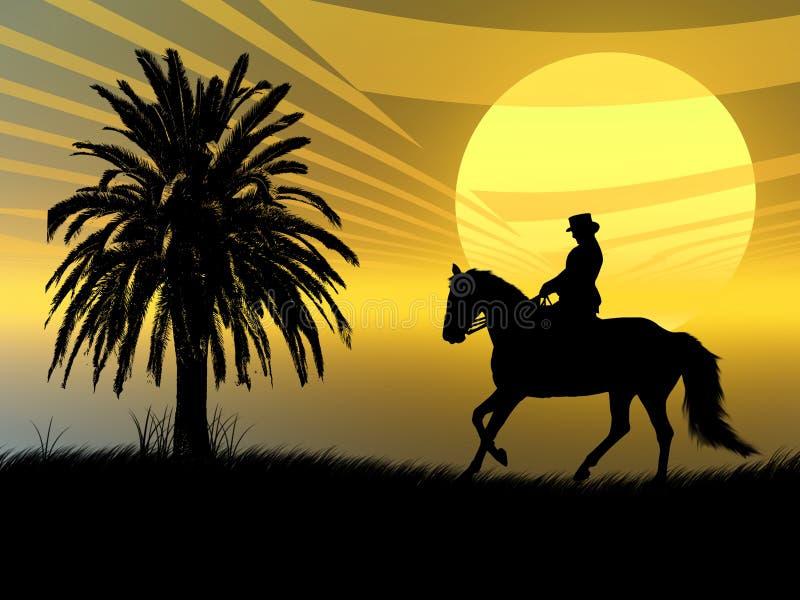 Equestrian nel tramonto illustrazione di stock