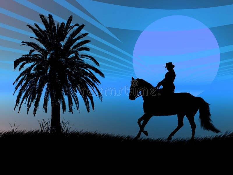 Equestrian nel tramonto illustrazione vettoriale