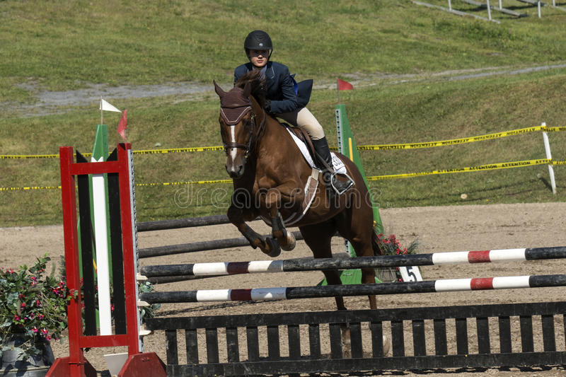 Equestrian show jumping. Front side view of rider and brown horse making a jump during competition at the bromont concours June 12, 2016 stock photo