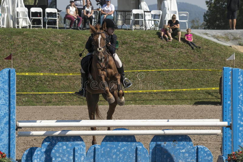 Equestrian show jumping. Front view of young rider and brown horse making a jump during competition at the bromont concours June 12, 2016 royalty free stock photo