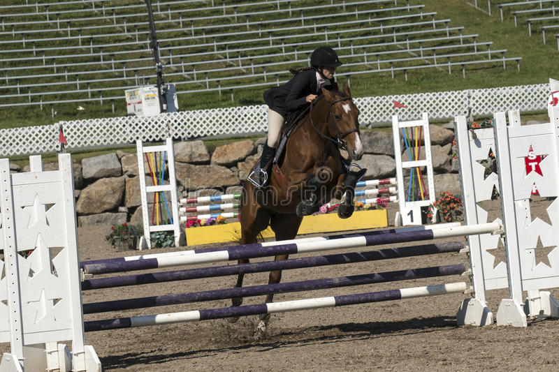 Equestrian show jumping. Picture of rider and brown horse making a jump during competition at the bromont concours June 12, 2016 stock photos
