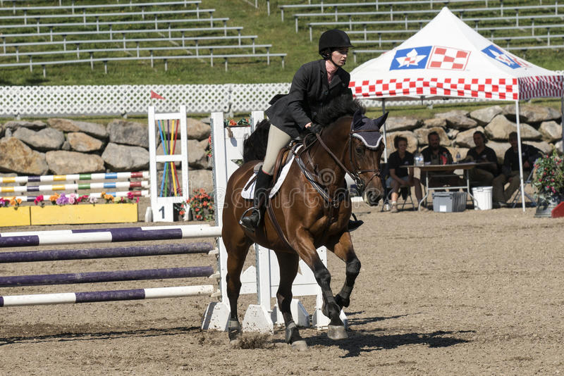 Equestrian show. Picture of rider and brown horse completing a jump during competition at the bromont concours June 12, 2016 stock photo
