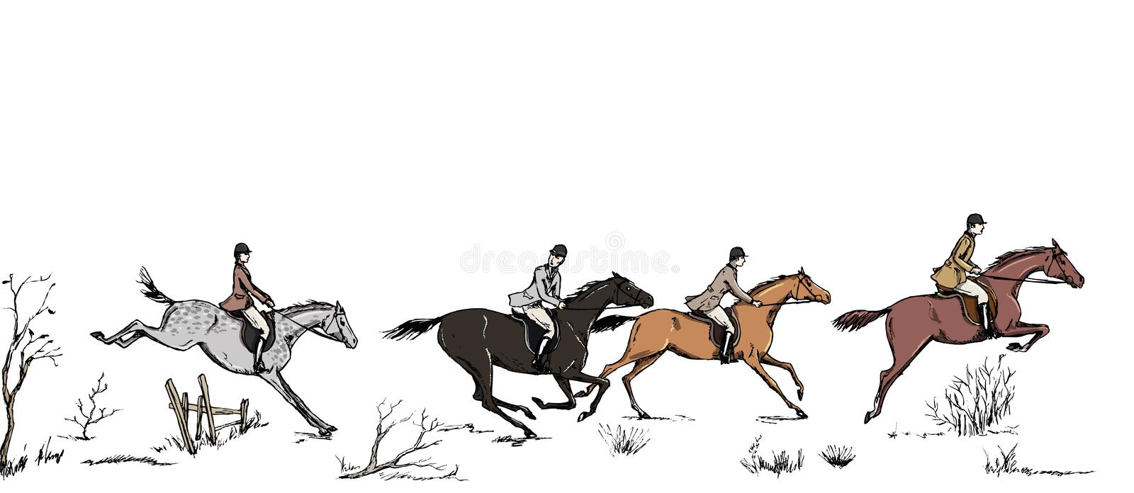 Equestrian sport fox hunting with horse riders english style on landscape. England steeplechase tradition frame or border. Hand drawing vintage art pattern on vector illustration