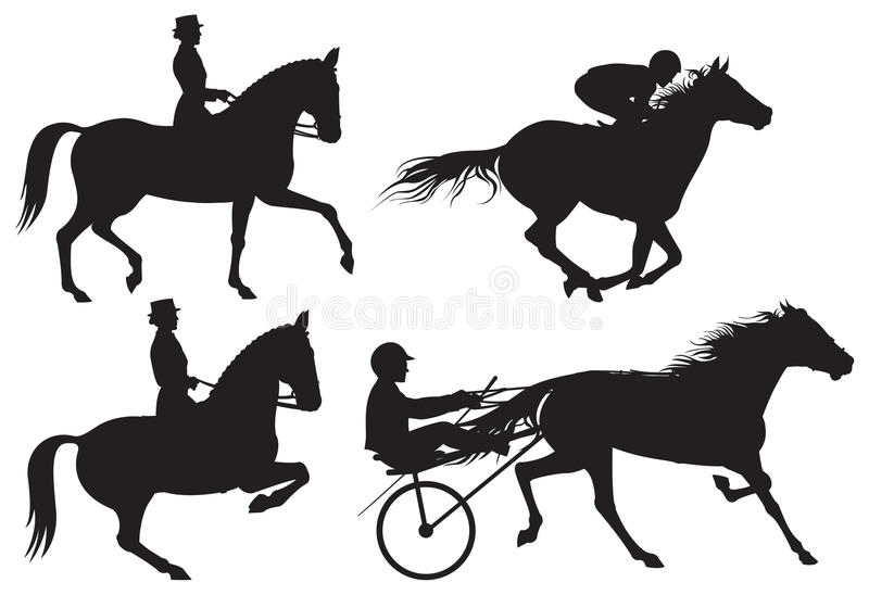 Equestrian sport horses and riders silhouet stock illustration