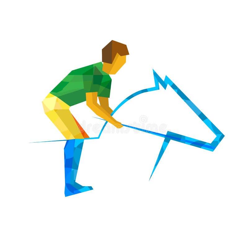 Equestrian sport z zieleni i koloru żółtego wzorami ilustracja wektor