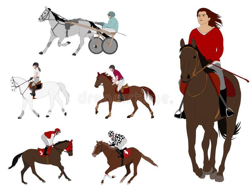 Equestrian sporty nicielnicy ścigać się, wyścigi konny, rekreacyjna jazda, dressage ilustracji