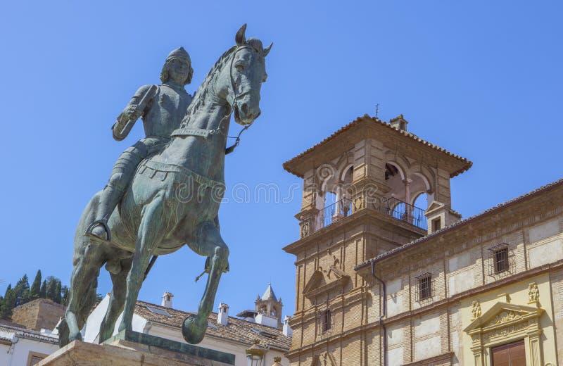 Equestrian statua Ferdinand Ja, królewiątko Aragon, Antequera fotografia royalty free