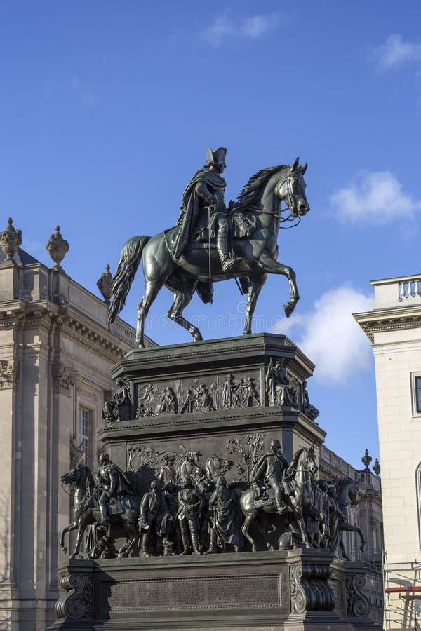 Equestrian statua Frederick Wielki w Berlin zdjęcie royalty free