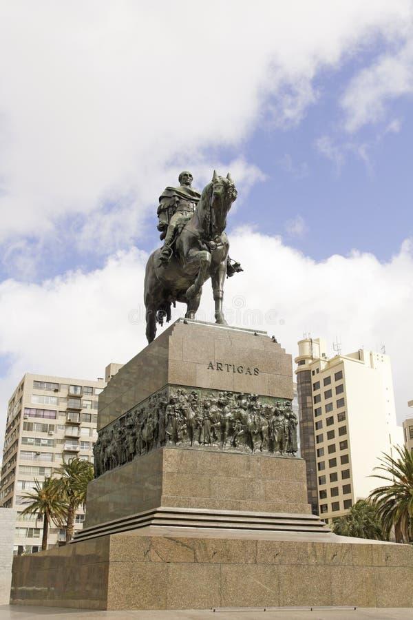 Equestrian statua generał Artigas w Montevideo, Urugwaj zdjęcia stock