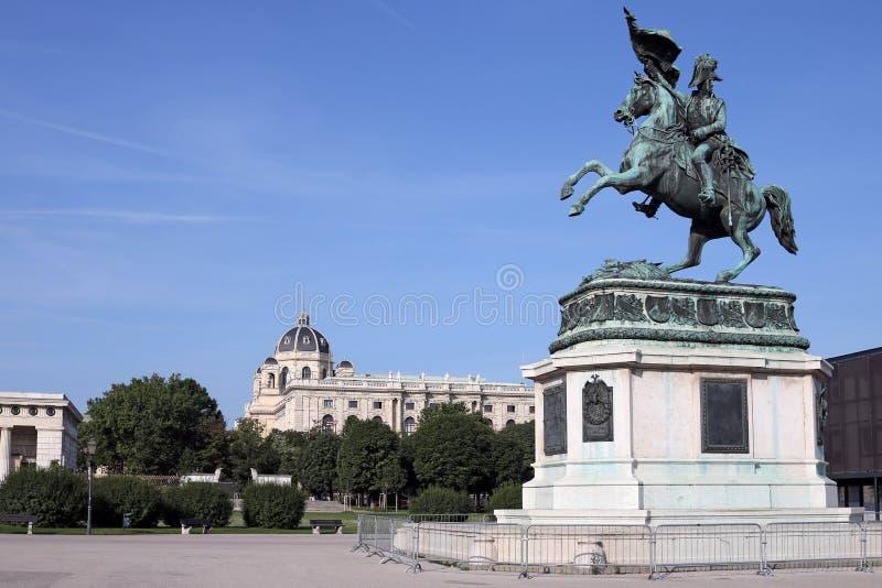 Equestrian statue of Archduke Karl on Heldenplatz in Vienna. Austria stock images