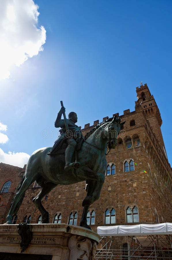 Equestrian statue of Cosimo I de Medici, Palazzo Vecchio, Florence, Italy. Equestrian statue of Cosimo I de Medici by Gianbologna in front of the Palazzo Vecchio royalty free stock images