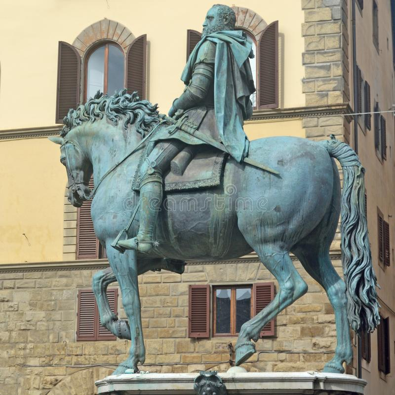 Equestrian statue of cosimo medici on piazza Signoria in Florenc. Bronze stutya Cosimo Medici on horseback in Florence royalty free stock images