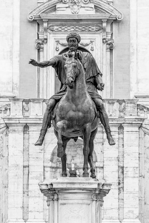 Equestrian statue of Emperor Marcus Aurelius on Piazza del Campidoglio, Capitoline Hill, Rome, Italy. Black and white image stock photo