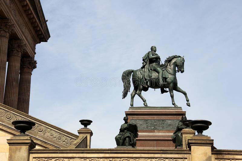 Equestrian statue of Friedrich Wilhelm IV at the portico of the Old National Gallery, Berlin. Germany - May 2016 stock image