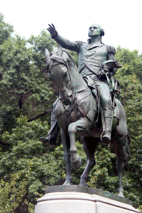 Equestrian statue of General George Washington, in the south sid. E of Union Square. New York City stock photo