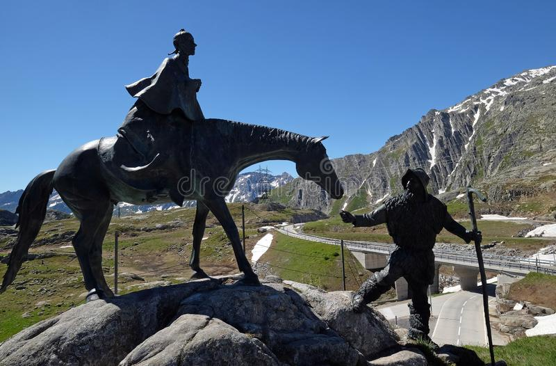 The equestrian statue of General Suvorov on Gotthard pass, Switzerland.  stock photography