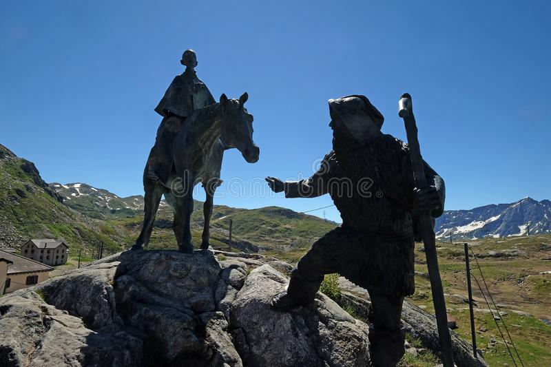 The equestrian statue of General Suvorov on Gotthard pass, Switzerland.  royalty free stock photography