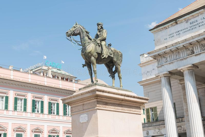 The equestrian  statue of Giuseppe Garibaldi in Genova. Giuseppe Garibaldi,  Italian patriot and soldier of the Risorgimento, a republican who, through his royalty free stock images