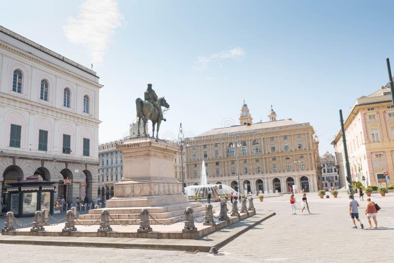 The equestrian  statue of Giuseppe Garibaldi in Genova. Giuseppe Garibaldi,  Italian patriot and soldier of the Risorgimento, a republican who, through his stock photography
