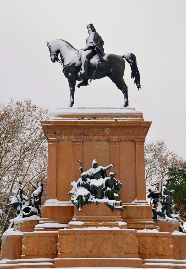 Statue Of Giuseppe Garibaldi In Rome Royalty Free Stock Photography